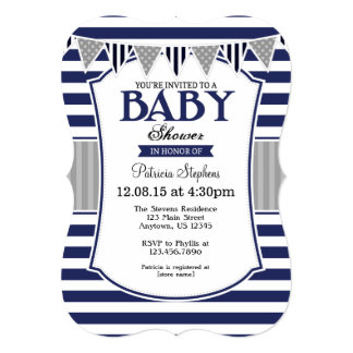 Navy Blue Gray Stripes Baby Shower Invitation