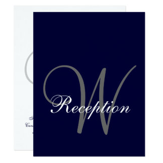 Navy Blue Gray Wedding Reception Card