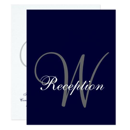Navy Blue Gray Wedding Reception Card Zazzle