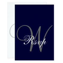 Navy Blue Gray Wedding RSVP Card