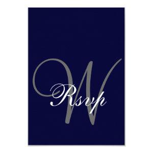 Navy Blue Gray Wedding RSVP Card 3.5