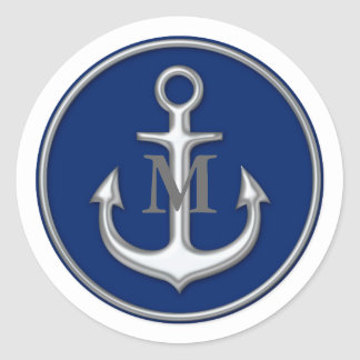Navy Blue Gray White Anchor Monogrammed Sticker