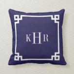 Navy Blue Greek Key Border Custom Monogram Throw Pillows