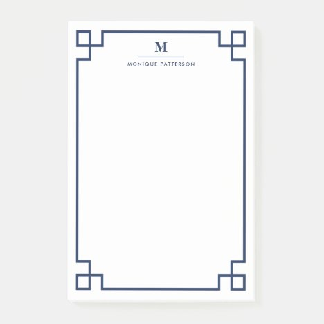 Navy Blue Greek Key Border Monogram Personalized Post-it Notes