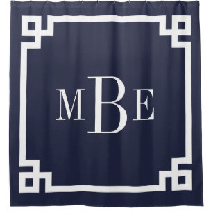 Navy Blue Greek Key Border Monogram Shower Curtain