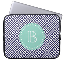 Navy Blue Greek Key Custom Monogram Computer Sleeve