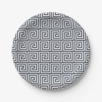 Navy Blue Greek Key Pattern Paper Plate