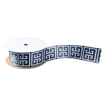 Navy Blue Greek Key Pattern Satin Ribbon