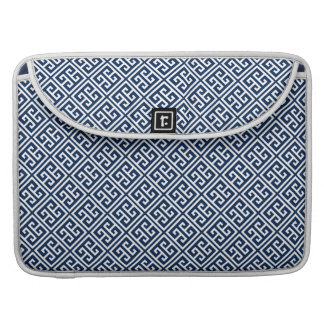 Navy Blue Greek Key Pattern Sleeve For MacBooks