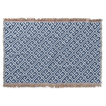 Navy Blue Greek Key Pattern Throw