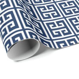 Navy Blue Greek Key Pattern Wrapping Paper