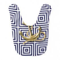 Navy Blue greek pattern preppy nautical Anchor Baby Bib