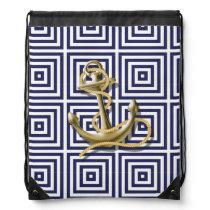 Navy Blue greek pattern preppy nautical Anchor Drawstring Backpack