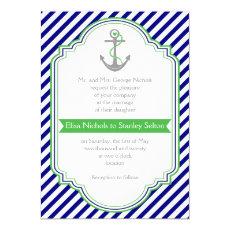 Navy blue, green anchor & stripes nautical wedding 5