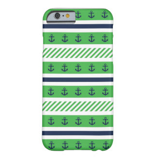 Navy Blue, Green and White Anchors Pattern Barely There iPhone 6 Case