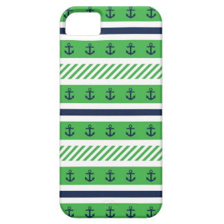 Navy Blue, Green and White Anchors Pattern iPhone 5 Case