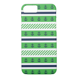 Navy Blue, Green and White Anchors Pattern iPhone 7 Case