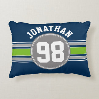 Navy blue Green Auto Racing Stripes Name Number Accent Pillow