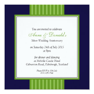 Navy Blue & Green Classy Anniversary Party Card