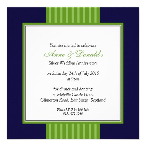 navy blue green classy anniversary party custom invites - 50th Anniversary Party Invitations