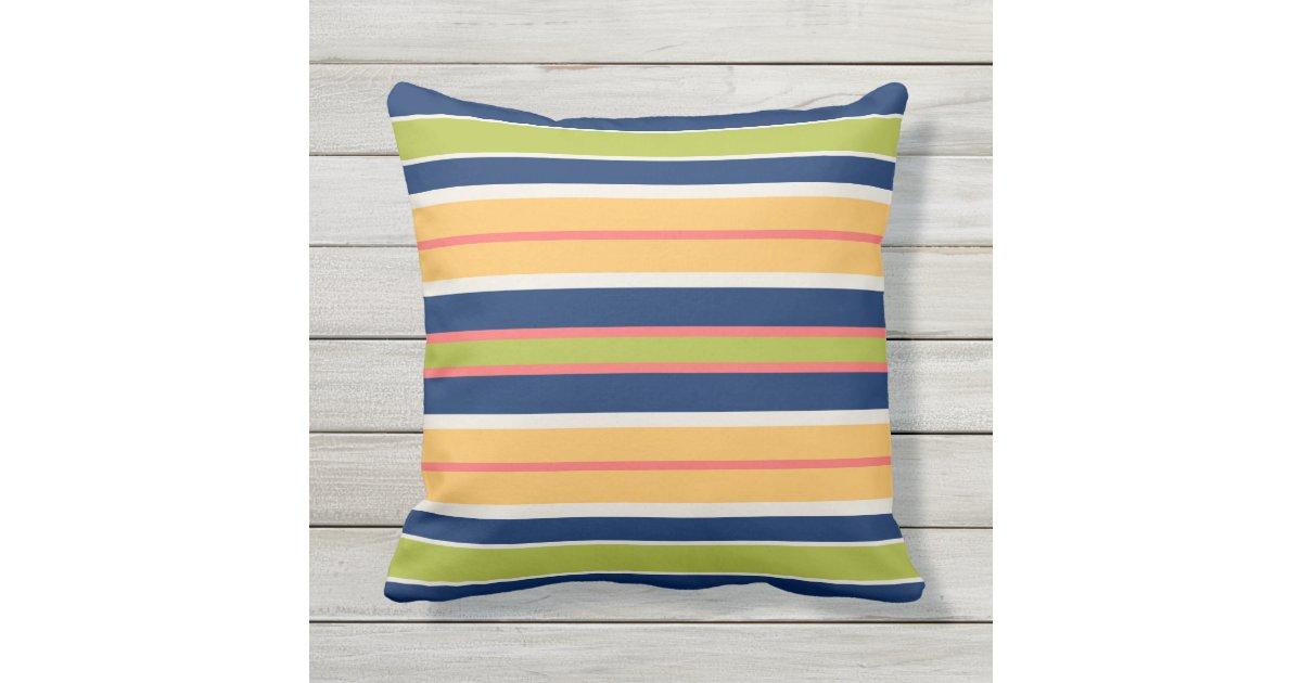 Navy Blue Green Coral and Orange Stripes Throw Pillow Zazzle