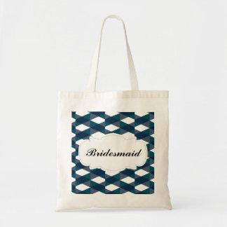 Navy Blue & Green Herringbone Pattern Bridesmaid Tote Bag