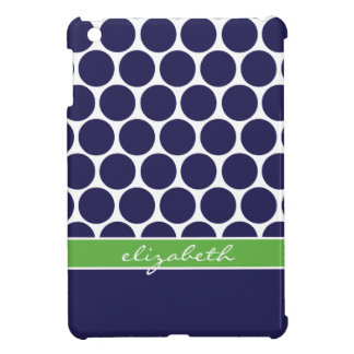 Navy Blue Green Mod Big Dots Custom Monogram Cover For The iPad Mini