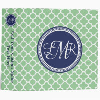 Navy Blue Green Monogram Quatrefoil Personalized 3 Ring Binder