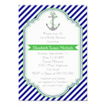 Navy blue, green nautical wedding bridal shower 5x7 paper invitation card