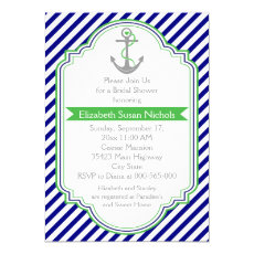 Navy blue, green nautical wedding bridal shower 5