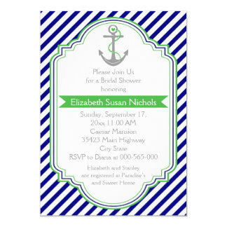 Navy blue, green nautical wedding bridal shower 5x7 paper invitation card