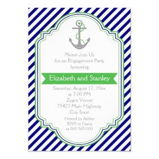 Navy blue, green nautical wedding engagement party 5x7 paper invitation card