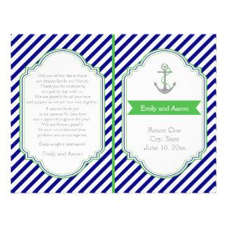 Navy blue, green nautical wedding program