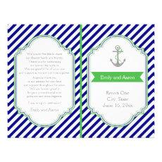 Navy blue, green nautical wedding program 8.5