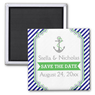Navy blue, green nautical wedding Save the Date Magnet