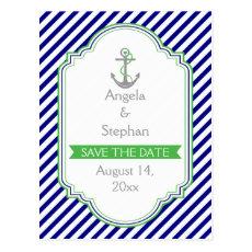 Navy blue, green nautical wedding Save the Date Postcard
