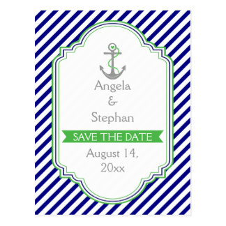 Navy blue, green nautical wedding Save the Date Postcard