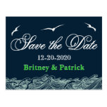 Navy Blue & Green Nautical Wedding Save the Dates Postcards