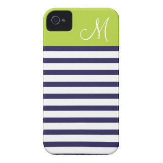 Navy Blue & Green Preppy Stripes Custom Monogram iPhone 4 Cover