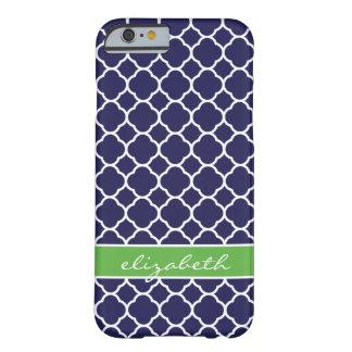 Navy Blue & Green Quatrefoil Custom Monogram Barely There iPhone 6 Case
