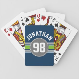 Navy blue Green Sports Jersey Stripes Name Number Deck Of Cards