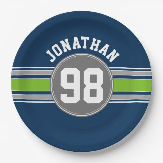Navy blue Green Sports Jersey Stripes Name Number Paper Plate