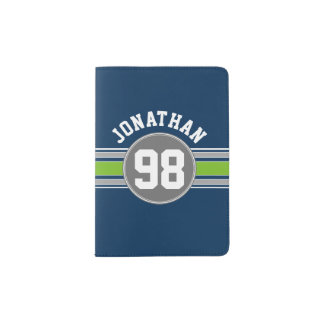 Navy Blue Green Sports Jersey Stripes Name Number Passport Holder