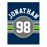 Navy blue Green Sports Jersey Stripes Name Number Postcard