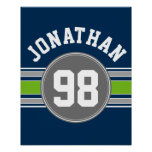 Navy blue Green Sports Jersey Stripes Name Number Posters