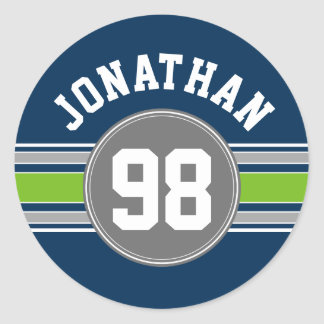 Navy blue Green Sports Jersey Stripes Name Number Classic Round Sticker