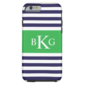 Navy Blue Green Stripes Monogram Tough iPhone 6 Case