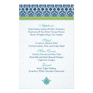 Navy Blue Green Teal Damask Menu Card