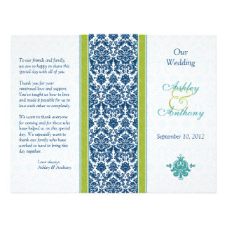 Navy Blue, Green, Teal Damask Wedding Program