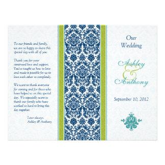 Navy Blue, Green, Teal Damask Wedding Program